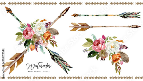 "Native American Wedding Invitations: ""Watercolor Boho Floral Illustration Set"