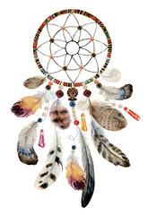 Isolated watercolor decoration bohemian dreamcatcher, boho feathers decoration, native dream chic design, mystery ethnic tribal print, american culture design, gypsy ornament, dream catcher.