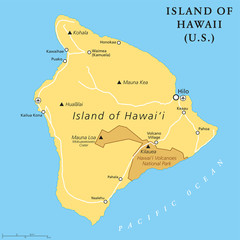 Island of Hawaii, political map. Largest island located in the U. S. state of Hawaii in the North Pacific Ocean. Also called Big Island, Big I or Hawaii Island. English labeling. Illustration. Vector