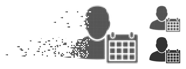 Gray vector user schedule calendar icon in dissolved, dotted halftone and undamaged entire versions. Rectangle dots are used for disappearing effect.