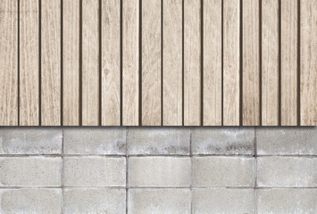 Wood fence and cement block wall
