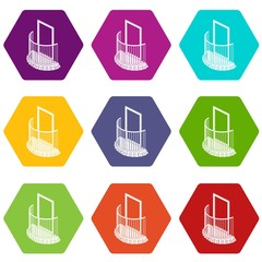 One door balcony icons 9 set coloful isolated on white for web