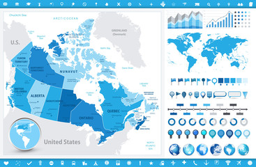 Canada Map and infographic elements Wall mural