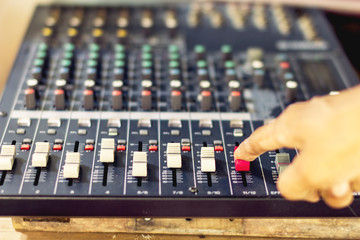 Audio mixer console slides. Concept and analog recording.