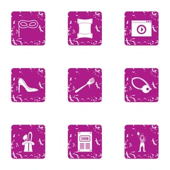 Script icons set. Grunge set of 9 script vector icons for web isolated on white background