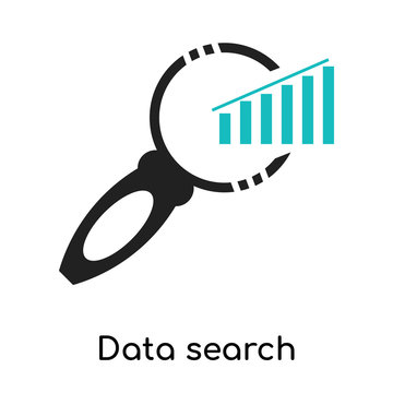 Data search interface symbol of a bars graphic with a magnifier tool icon vector sign and symbol isolated on white background, Data search interface logo concept