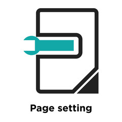 Page setting interface symbol icon vector sign and symbol isolated on white background, Page setting interface symbol logo concept