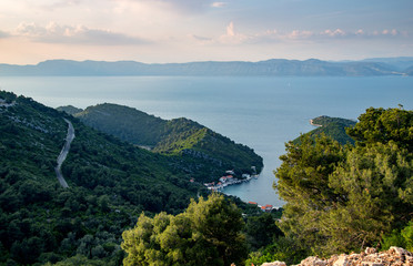 Panoramic image of village Prožurska luka at island Mljet.Croatia