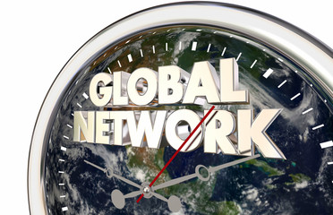 Global Network International Earth Clock 3d Render Illustration - Elements of this image furnished by NASA