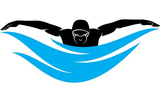Male Swimmer Swimming Butterfly Stroke