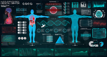 Modern Medical Examination in The Style of HUD. Body Scan UI ( Ultrasound and Cardiogram, Interface With Heart, Human Body and Electrocardiogram Illustrations.) HUD UI Medical Elements Set. Infected