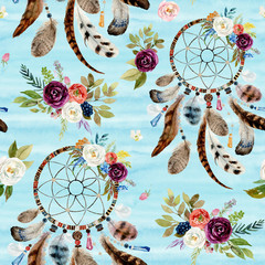 Seamless watercolor ethnic boho floral pattern - dreamcatchers and flowers on blue background, Native American tribe decor, tribal navajo isolated illustration bohemian ornament, Indian, Peru, Aztec.