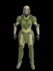 3D Illustration of Futuristic Green Female Military Cyborg Drone on Black Chroma Key Background for Easy Editing