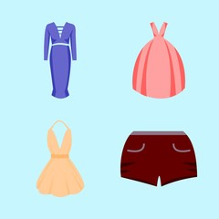 woman clothes icons set