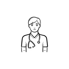 Caucasian doctor with stethoscope hand drawn outline doodle icon. Medical staff working in medicine system and health care. Vector sketch illustration for print, web and mobile on white background.