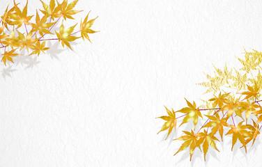 紅葉のイラスト(背景は金色の屏風)