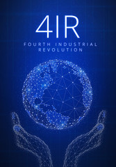 Fourth industrial revolution futuristic hud background with glowing polygon world globe in hands, blockchain peer to peer network and title 4IR. Global cryptocurrency business finance banner concept.