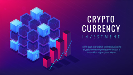 Isometric cryptocurrency investment landing page concept. Online automated BTC trading investment and business oportunity on ultra violet background. Vector 3d isometric illustration.