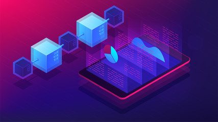 Isometric blockchain white paper and ICO analysis concept. ICO analysis framework, global cryptocurrency market illustration on ultra violet background. Vector 3d isometric illustration.