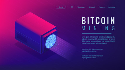 Isometric bitcoin mining landing page concept. Mining crypto currency, video card server farm, data processing unit equipment on ultra violet background. Vector 3d isometric illustration.