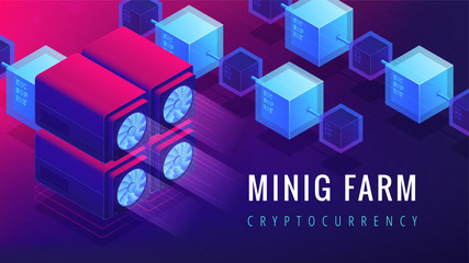 Isometric mining farm landing page concept. GPU mining farm, cryptocurrency mining concept. Blockchain server network on ultra violet background. Vector 3d isometric illustration.