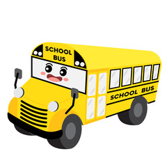 School Bus transportation cartoon character perspective view isolated on white background vector illustration.