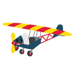 Ultralight Aircraft transportation cartoon character perspective view isolated on white background vector illustration.
