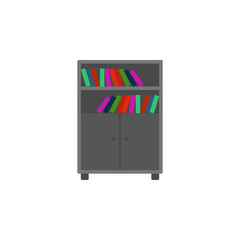 bookcase flat icon. Element of furniture colored icon for mobile concept and web apps. Detailed bookcase flat icon can be used for web and mobile. Premium icon