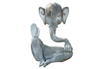 Ganesha stone statue isolated on white background