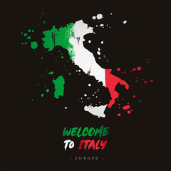 Welcome to Italy. Flag and map of the country