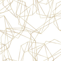 Seamless geometric pattern on white background. Abstract gold polygonal geometric shapes / crystals, golden glitter triangles, geometric, diamond shapes.