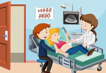 A Couple Ultrasound at Hospital