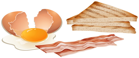 A Set of Breakfast on White Background