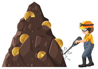 Man mining crytocurrency from ground