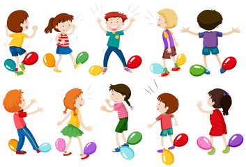 Children Play Balloon Stomp Game
