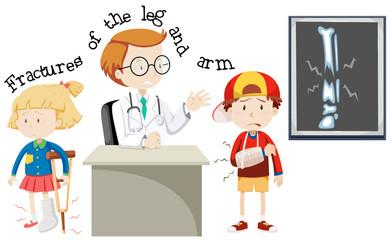 Children Having Fractures Leg and Arm
