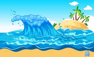 Papiers peints Sous-marin A Huge Wave an Island