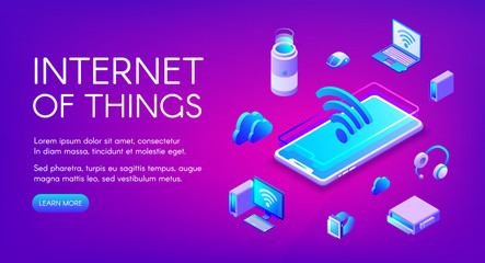 Internet of things vector illustration of smart devices communication in Wi-Fi wireless network technology. IOT in smartphone, digital data cloud and computer laptop on ultra violet background