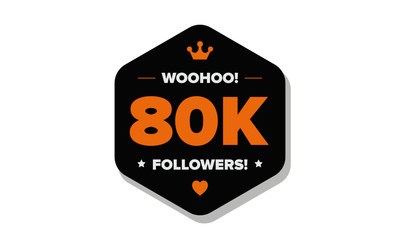 Woohoo 80K Followers Sticker for Social Media Page or Profile Post