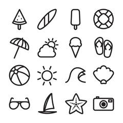 Summer Icon Set - Flat Outline