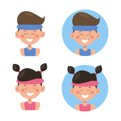 Avatar set.Boy and girl.Character design.Vector illustration for web.