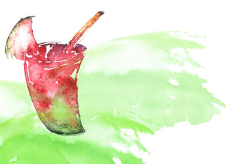 Watercolor drawing cocktail of fruits, watermelon, berry, pomegranate, mint leaves, ice. Cool drink with ice. Mojito, Logo, postcard, card, drawn by hand graphics. Vintage drawing for your design.