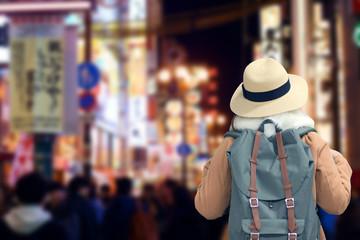 Photo sur Toile Hong-Kong Tourist is traveling at Shinsaibashi night street shopping district in Osaka, Japan.