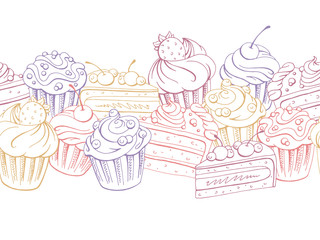 Muffin dessert graphic color sketch seamless pattern background illustration vector