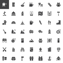 Camping vector icons set, modern solid symbol collection, filled style pictogram pack. Signs, logo illustration. Set includes icons as Pot on fire, Kettle, Grill, Spray, Gps, Map, Logs, Tent Trailer