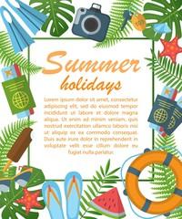 Summer holidays flat poster