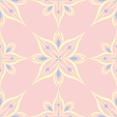 Floral seamless pattern. Pale pink background with light blue and yellow flower elements
