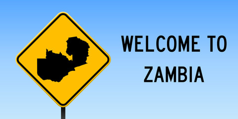Zambia map on road sign. Wide poster with Zambia country map on yellow rhomb road sign. Vector illustration.