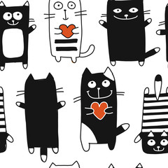Funny cats, seamless pattern for your design