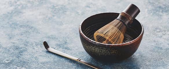 Utensils for preparation of matcha tea. Copy space